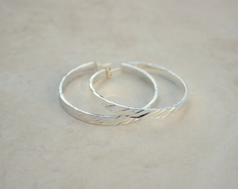 Size 3 Silver Diagonal Hammered Hoops, Argentium Silver Hoops, Silver Hoop Earrings, Handforged Silver, Everyday Earrings