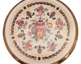 Vintage Floral Stratton Powder Compact
