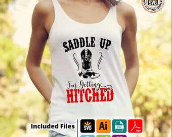 Saddle Up Getting Hitched T-Shirt design Bachelorette Party png, pdf, svg, ai eps for silhouettte cricut  NashvilleTennessee