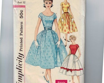 1950s Vintage Sewing Pattern Simplicity 2491 Misses Full Skirt Party Dress Scoop Neck Size 12 Bust 32 50s