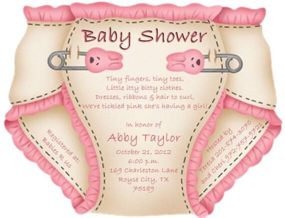baby shower diaper invitations or thank you notes