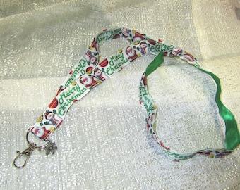 MERRY CHRISTMAS Santa/Snowman Holiday Handmade Grosgrain & Satin Ribbon Lanyard/Keychain/Badge Holder w/Metal Charm....choose style