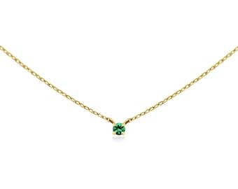Emerald Necklace, Emerald Neckalce Gold, Natural Emerald Necklace, Genuine Emerald Necklace, 14k Solid Gold Necklace, Birthstone Necklace