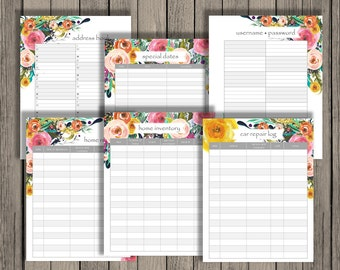 Informational Set: Address book printable, username password printable, birthday anniversary, appliance inventory, home and car repair log.