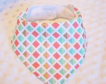 FREE SHIPPING Geometric Bandana Baby Bib --Drooler Bib--