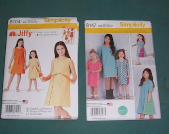Simplicity 8104 or Simplicity 8147...Girls Retro Look Jiffy Reversible Wrap Dress...3 Piece Pattern..Girls Summer Dress...New for 2016...