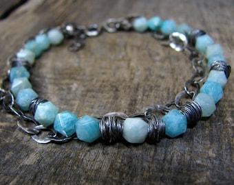 Amazonite Bracelet, Oxidized Silver Bracelet, Wire Wrapped Jewelry, Oxidized Jewelry, Stone Bracelet, Gemstone Bracelet, Gift for Her