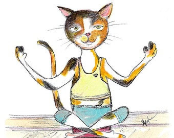 Chat Calico Yoga chat - chat peinture Aquarelle - Aquarelle chat impression - chat de calicot Yoga impression - Art mural de chambre de bébé - cadeau de Yoga - chat cadeau