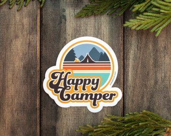Happy Camper Sticker Vinyl Stickers Outdoor Wanderlust Gift Camping Adventure Stickers Waterbottle Sticker Laptop Stickers Waterproof