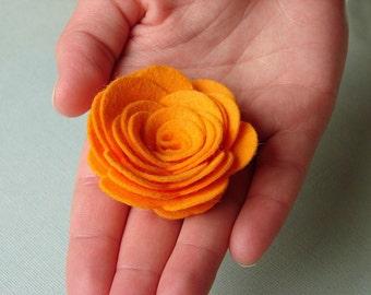 """Wool Felt Flowers - X Large Posies 2-1/4"""" - Dimensional Flowers Set of 6"""