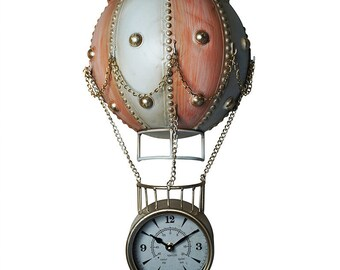 Wall Clock* The Flying Hot Air Balloon -Pink/White (Hand-made)