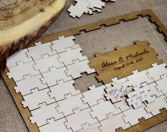 Personalized puzzle guestbook alternative wedding wooden guestbook guestbook sign alternative wedding guestbook guest book ideas gift ideas