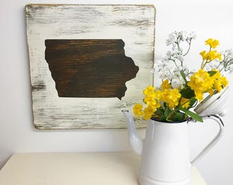 IOWA State Sign, Hand painted Iowa Sign, Rustic, DISTRESSED IA Sign, Iowa Mantle Sign, Entryway Cabin Iowa Sign, Brown, Iowa cottage sign