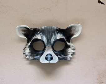 Raccoon Leather Mask - Masquerade Mask - Halloween Costume - Rocket - Guardians of the Galaxy - Cosplay Adult Size Raccoon Costume Mask