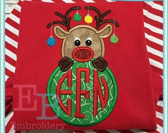 Reindeer Monogram Peeker Applique - This design is to be used on an embroidery machine. Instant Download