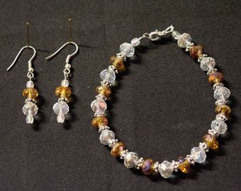 Gold and Clear Multifaceted Glass Bead Bracelet and Earring Set