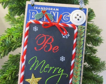 Vintage Christmas Be Merry Ribbon Altered Bingo Card Holiday Decoration Door Hanger Ornament Retro Accent