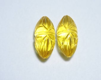 2 Pieces Yellow Quartz Hand Carved Rice Shaped Loose Gemstone Size 23X11 MM