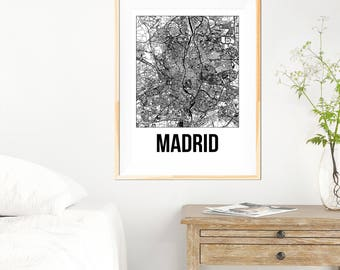 Madrid City Map Print - Black and White Minimalist City Map - Madrid Map - Madrid Art Print - Many Sizes/Colours Available