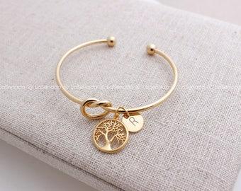 mothers bracelet, rosegold family tree bracelet, Tie the Knot Bracelet, personalized bracelet, mom bracelet, Grandma gift, Grandma bracelet