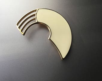 Monet Modernist Abstract Arc Rainbow Brooch - Ivory / Pale Yellow Enamel Gold Tone Pin