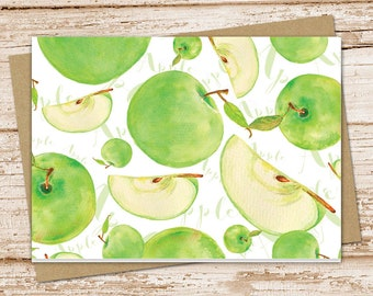 apple note card set . watercolor green apples . fruit notecards . blank note cards . folded stationery . stationary . set of 6