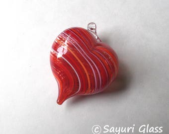 Assorted Red Stripe Heart Ornament : DISASTER RELIEF