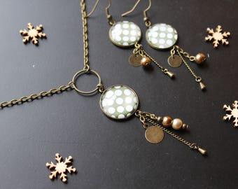Original! Smart set, glass cabochon, Pearl, golden brown