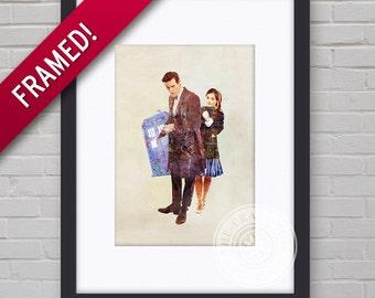 0087F Dr Who Matt Smith & Jenna Coleman Framed Print Wallart Multiple Sizes
