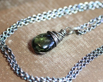 Green Tourmaline Necklace Sterling Silver Wire Wrapped Pendant Green Gemstone Briolette Necklace