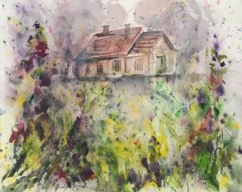 Original watercolor of a farm in the flowers, original painting of purple flowers with a house, decorative art, birthday gift