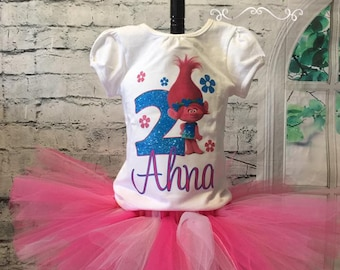 Trolls tutu, trolls tutu outfit, trolls birthday outfit, trolls birthday shirt, poppy birthday outfit, poppy birthday shirt, poppy tutu,