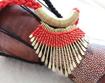 Vibrant Ethnic/Tribal Necklace-Red and Gold