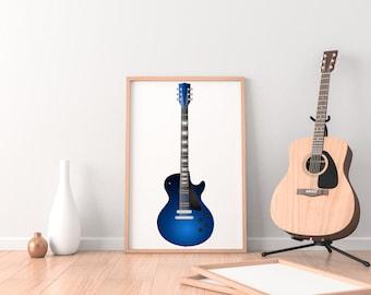 Blue Sunburst Les Paul Guitar Digital Download