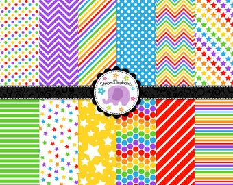 Rainbow Digital Paper Pack 2, rainbow digital scrapbook paper, digital background, Instant Download, Commercial Use