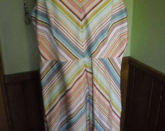 Vintage Stripped SCARLET Brand Sleeveless Lined Dress (10) White-Multi Color