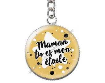 Keychain cabochon resin mum you're my star