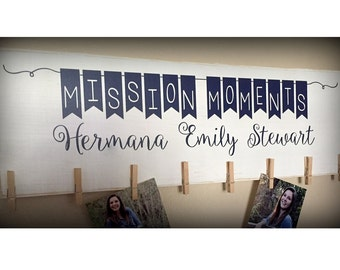 Mission Moments Sign, Custom Missionary Sign, LDS Missionary Sign, Bunting Sign, Clothespins, Wood Sign, Missionary Wall Sign, LDS Art