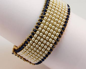 Pearl and Indigo Wide Cuff Bracelet, Pearl Beaded Bracelet, Simply Marvelous Pearl and Crystal Bracelet, Designer Pearl Bracelet, 547682365