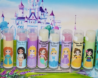 SALE Princess Lip Balm - 12 Lip Balm - Princess Birthday Party,  ,  Custom Princess  Favors , Princess Birthday, Princess Present