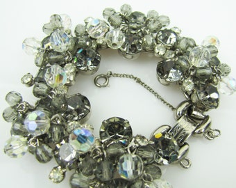 D&E Juliana Bracelet. Delizza and Elster Rhinestone Jewelry. Silver Smokey Gray Clear Crystals.  D and E Cha Cha Bracelet.