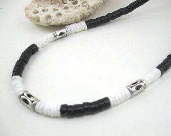 Mens necklace, necklace mens, boys necklace, surfer necklace, fathers day necklace, fathers day gift, mens black necklace, surf necklace men