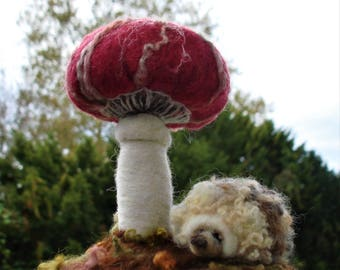 Hedgehog and Toadstool Needle Felted Sculpture, Wildlife Art, Handmade Forest Scene, Woodland Nursery, Hedgehog Gift, Amanita Mushroom
