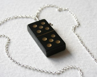 Vintage Wooden Domino 5 5 Charm Necklace Sterling Silver