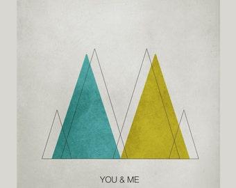 You & Me Geometric Print. geometric print, abstract art, geometric art, abstract poster, scandinavian print, minimalist art, mid century