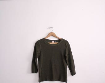 Olive Green Striped Thermal Shirt