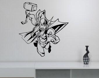 Thor Wall Decal Vinyl Sticker Avengers Superhero Art Movie Decorations for Home Kids Boys Room Bedroom Playroom Marvel Decor thr2