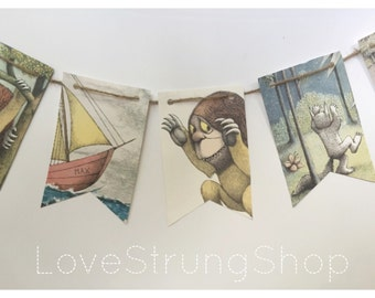 Where the Wild Things Are party banner bunting garland flags Wild one