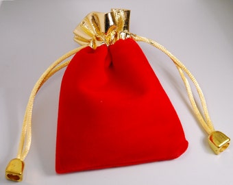 50 jewelry pouches - Gold top velvet pouches, jewelry bags, red color, 10cmX8cm