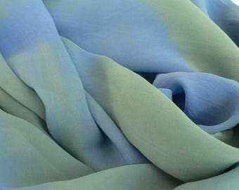 NEW! Pure Silk Georgette Scarf - 'Deep Ocean' - Handmade and Hand dyed